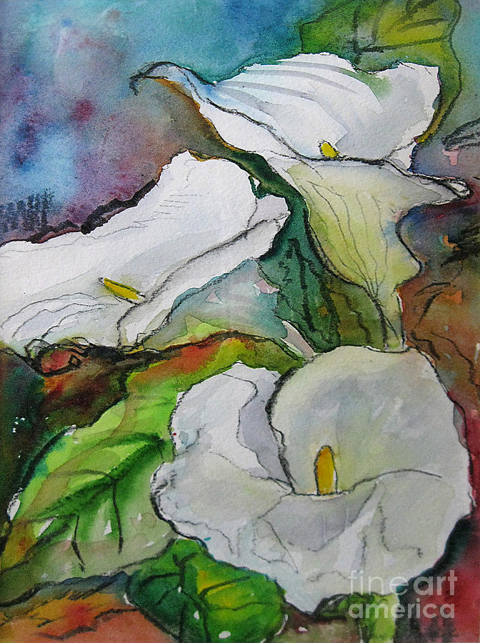 Watercolor Painting - Calla Lilies by Gwen Nichols