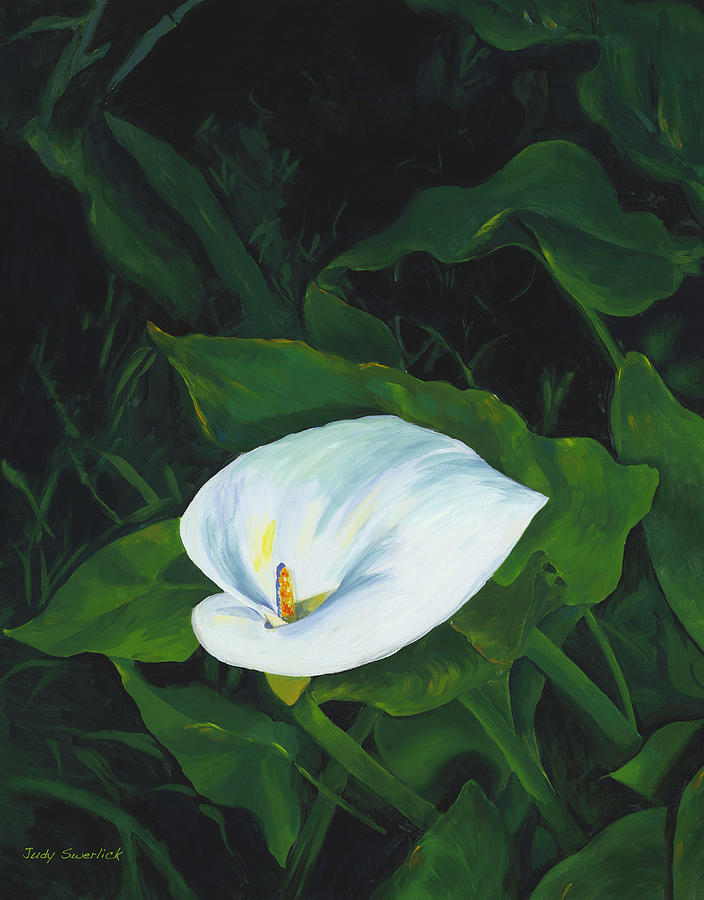 Calla Lily Painting - Calla Lily In The Garden Of Diego And Frida by Judy Swerlick
