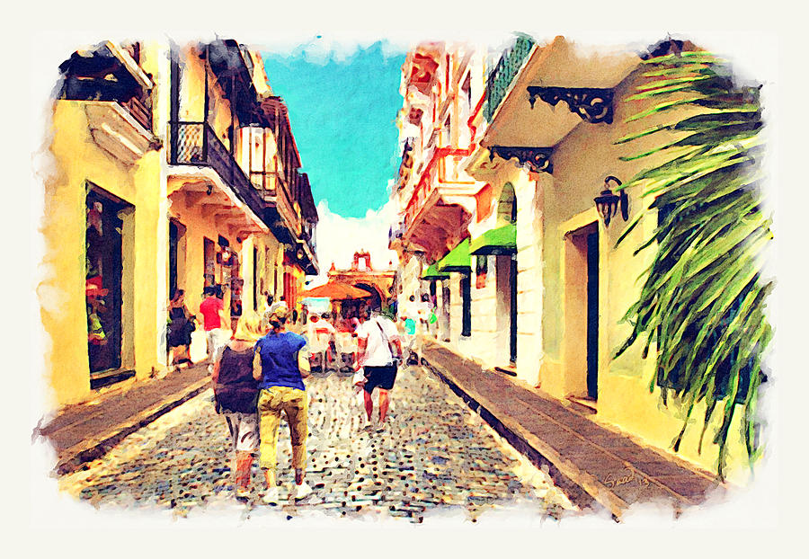 Puerto Rico Painting - Calle Del Cristo Street San Juan Puerto Rico by Yiries Saad