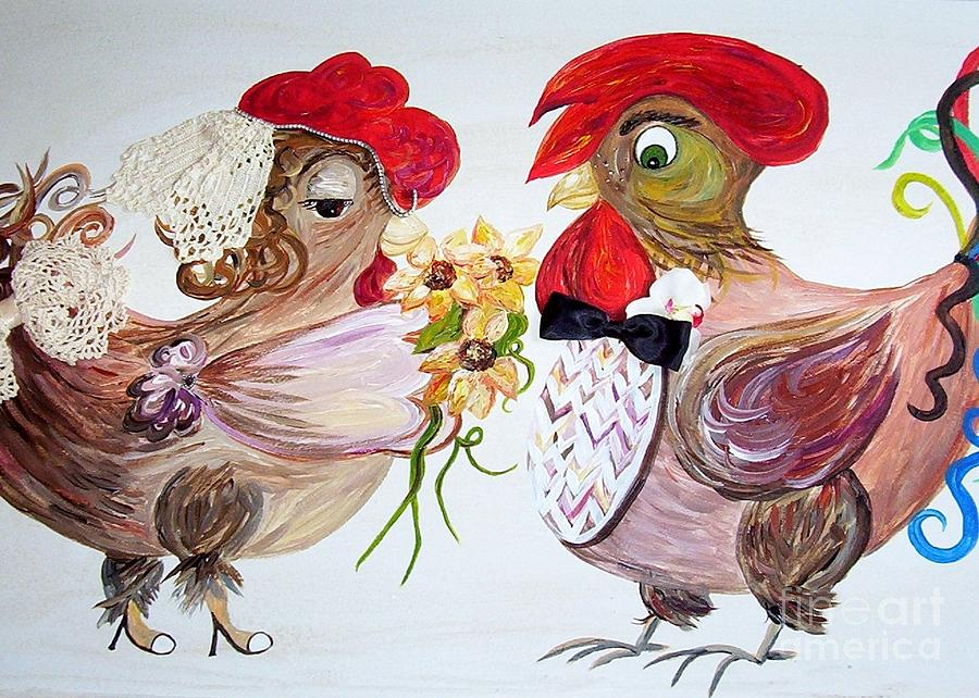 Rooster Painting - Calling All Chicken Lovers Say I Do by Eloise Schneider