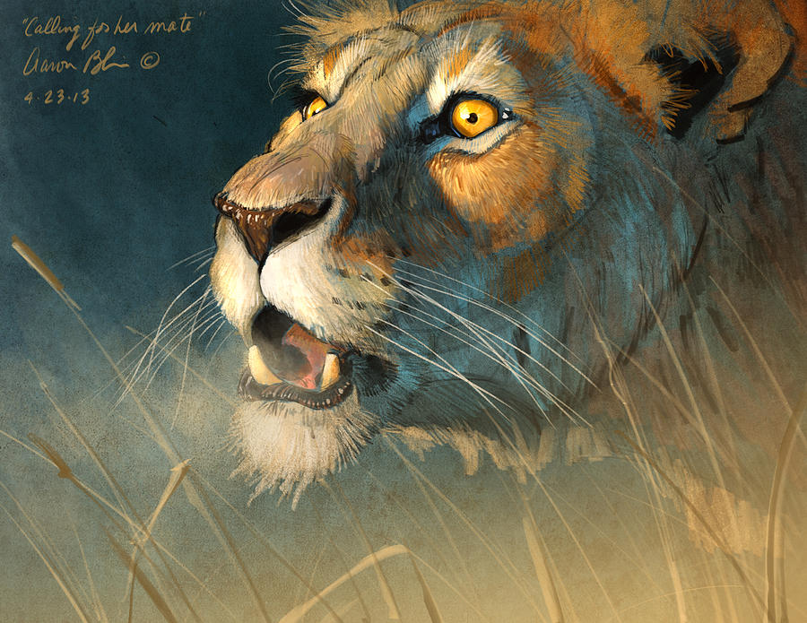 Lion Digital Art - Calling for her mate by Aaron Blaise