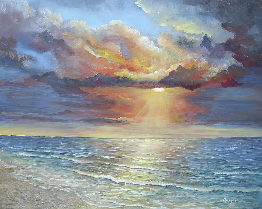 Seascapes Painting - Calm by Katalin Luczay