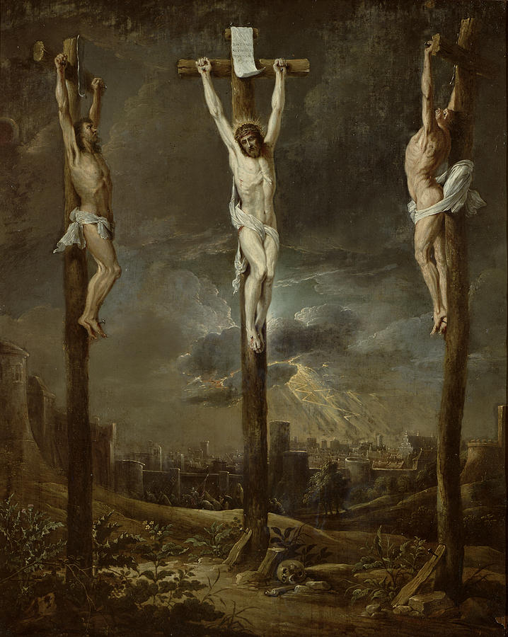 Jesus Christ Photograph - Calvary Oil On Card by David the Younger Teniers