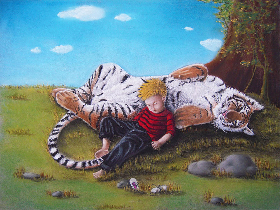 Calvin And Hobbes Irl Pastel by Amani Warrington