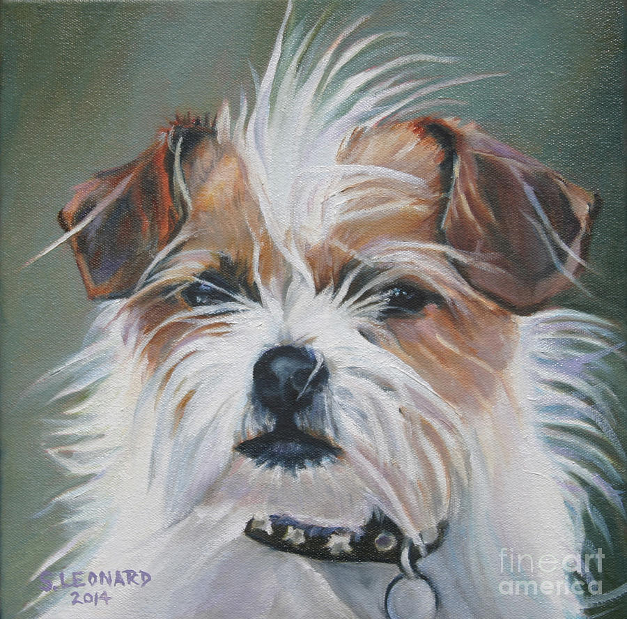 Dog Painting - Calvin by Suzanne Leonard