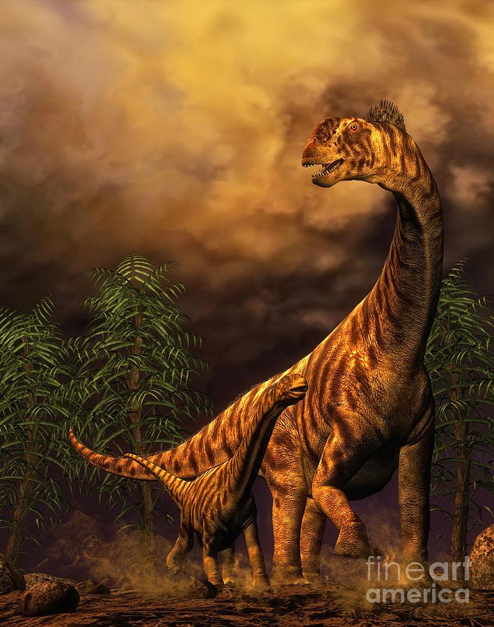 Camarasaurus Adult And Offspring Digital Art