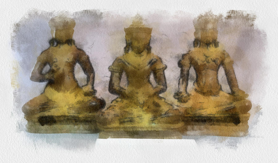 Cambodia Antique Temple Painting by Teara Na