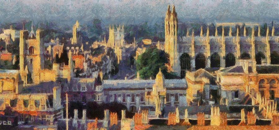 University Painting - Cambridge Panorama by Georgi Dimitrov
