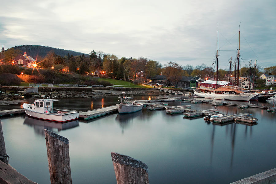 Camden Harbor, Maine At Twighlight Photograph by Chris Bennett