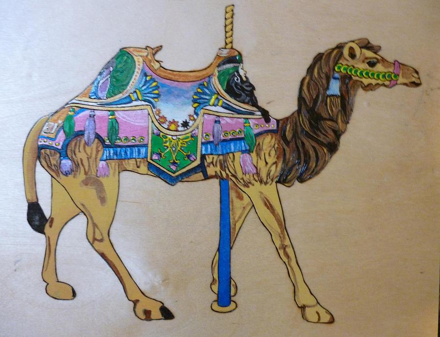 Camel Carousel Animal Pyrographic Wood Burn Art Original