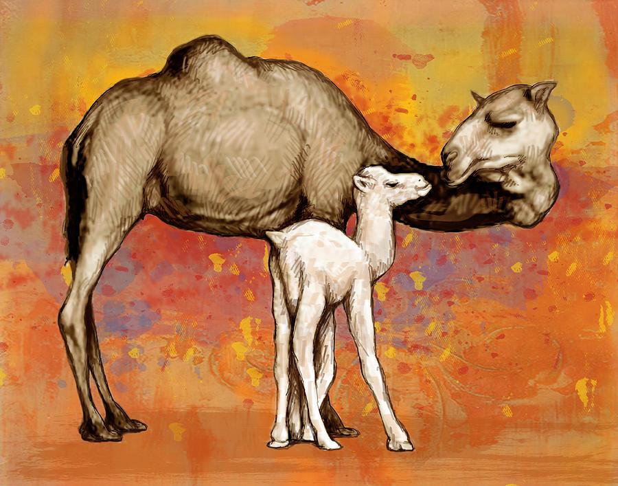 Camel Stylised Pop Art Drawing Potrait Poser by Kim Wang