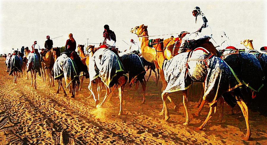 Camels Digital Art - Camel Train by Peter Waters