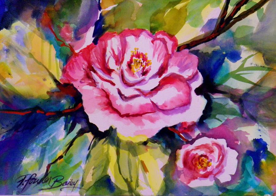 Sacramento Camellia Show Painting - Camellia Prisms Original Sold Prints Available by Therese Fowler-Bailey