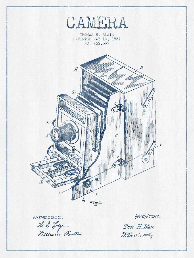 Camera Patent Drawing From 1887 - Blue Ink Digital Art