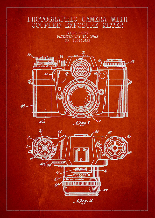 Camera Drawing - Camera Patent Drawing From 1962 by Aged Pixel