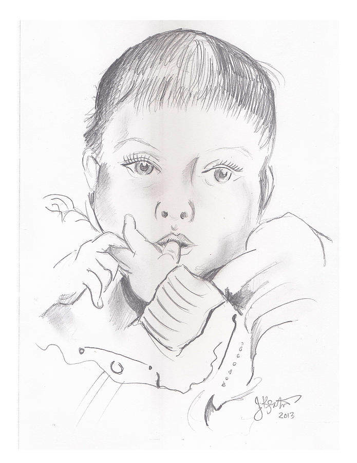 Baby Drawing - Camilla by John Keaton