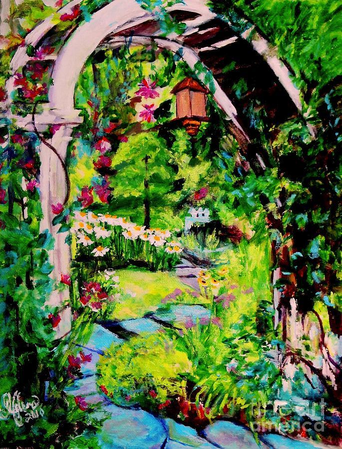 Garden Painting - Camilles Secret Cottage Garden  by Helena Bebirian