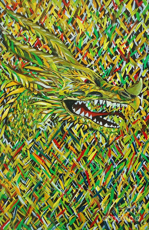 Camo Dragon Painting by Michael Henzel