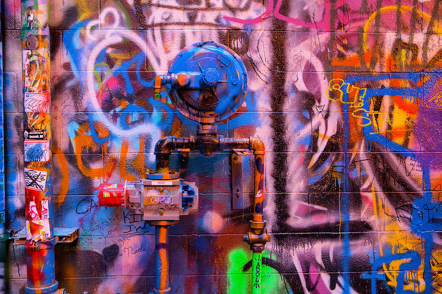 Graffiti Photograph - Camouflaged Pipework by David Hare