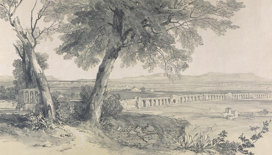 Italian Landscape Painting - Campagna Of Rome From Villa Mattei by Edward Lear