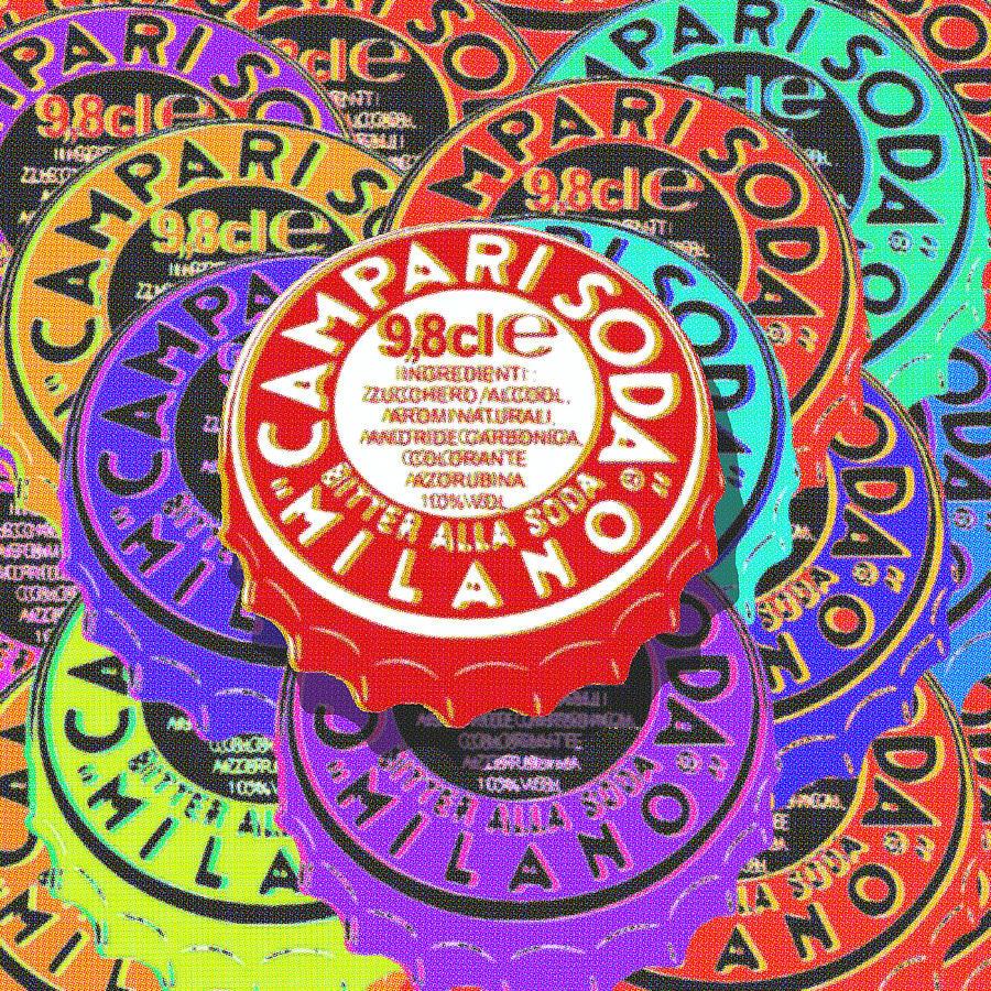 Campari Painting - Campari Soda Caps by Tony Rubino