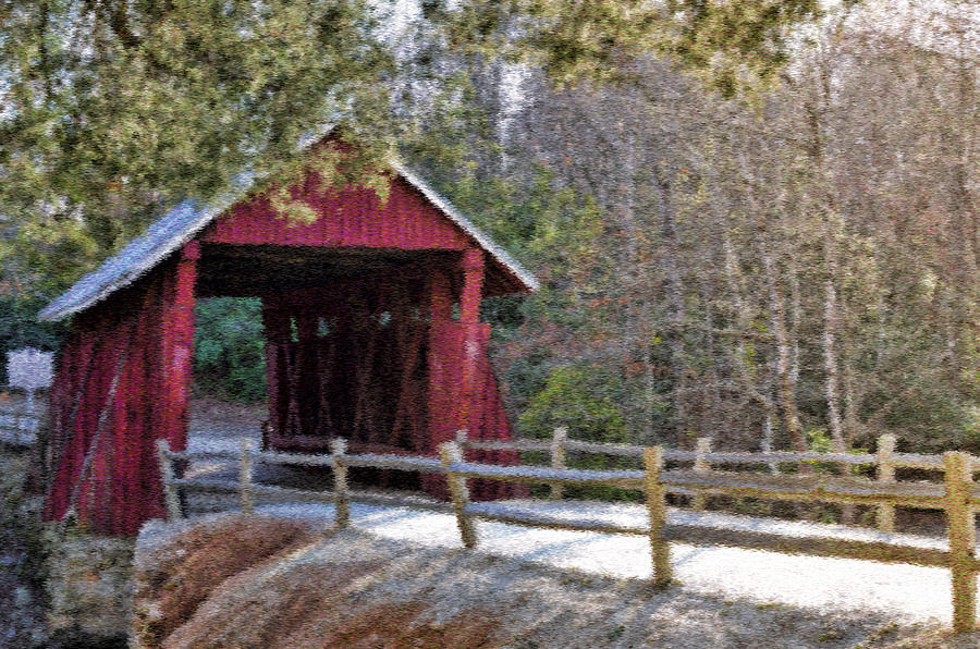 Campbell's Covered Bridge - Van Gogh Style by Jennifer Stockman