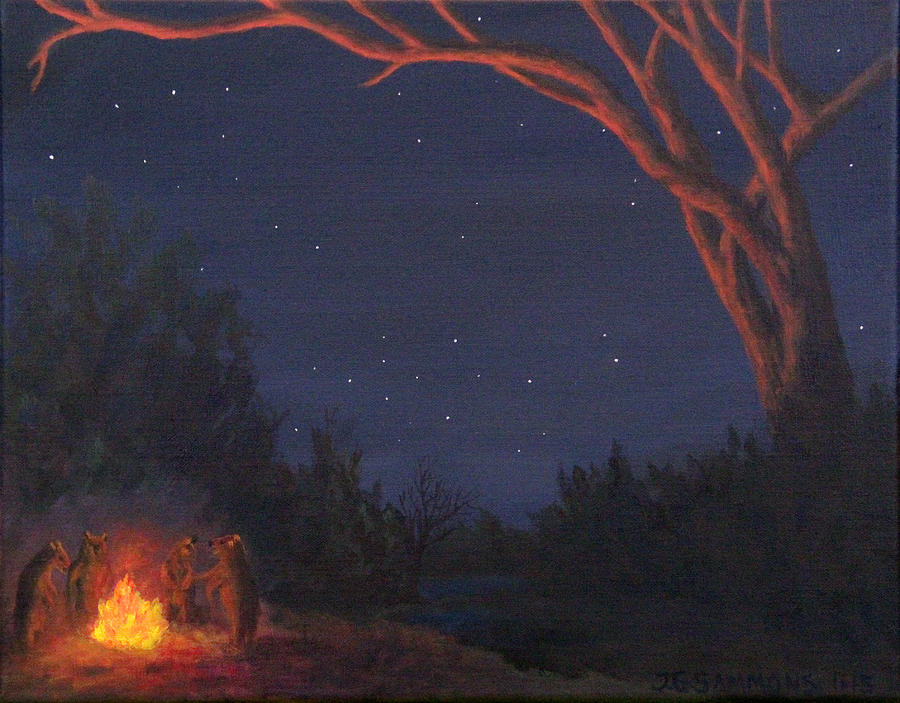Campfire Bears Painting by Janet Greer Sammons Campfire Painting