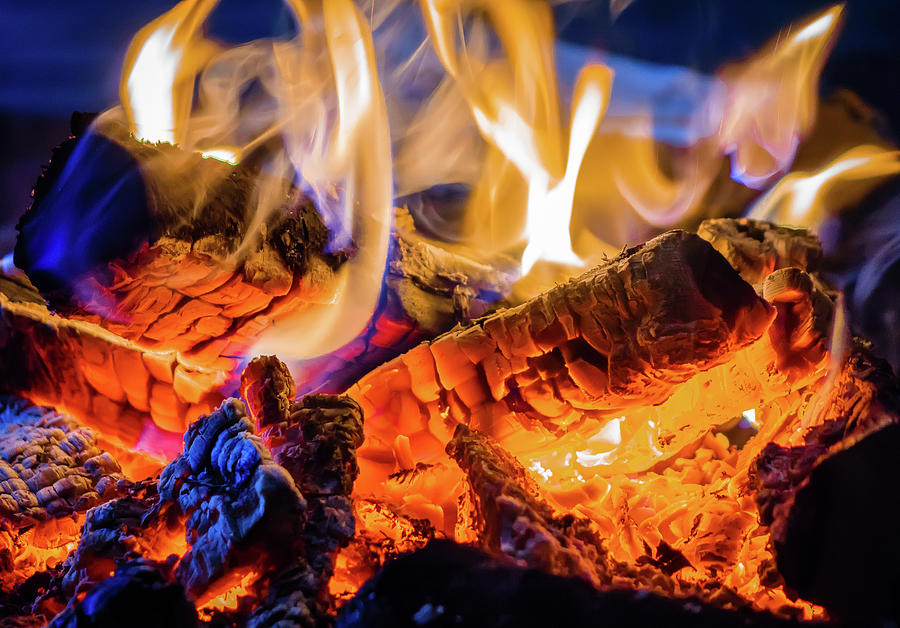 Horizontal Photograph - Campfire, Lapland Sweden by Panoramic Images