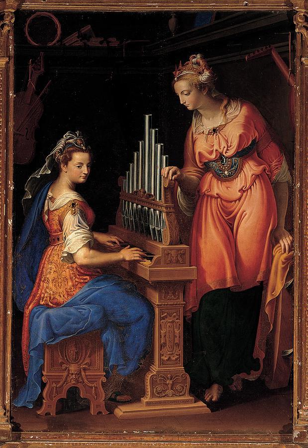 Catherine Photograph - Campi Bernardino, Sts Cecilia by Everett