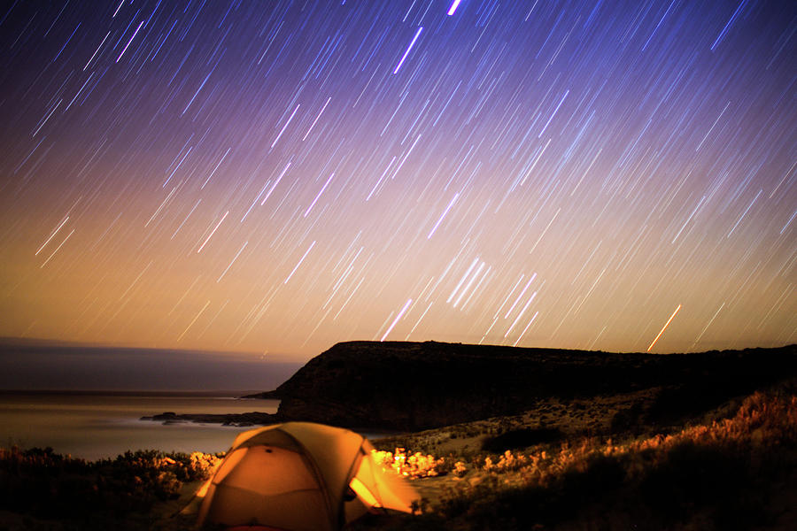 Camping In Tent Under Star Trails In Photograph by Robert Lang Photography