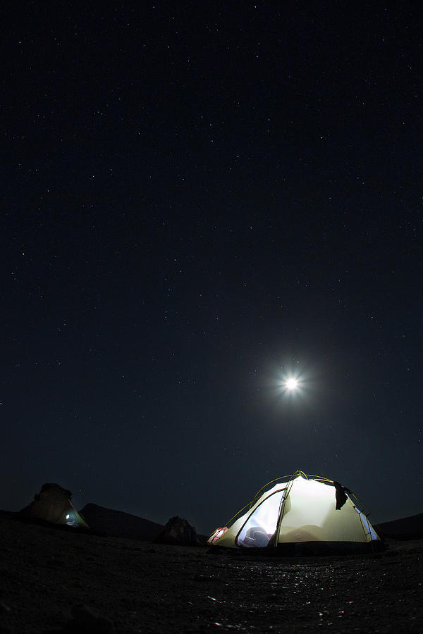 Camping On The Beach Under The Moon And Photograph by Anna Henly