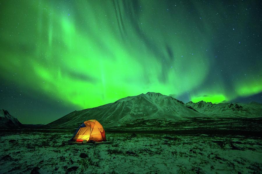 Camping Under Northern Lights Photograph by Piriya Photography