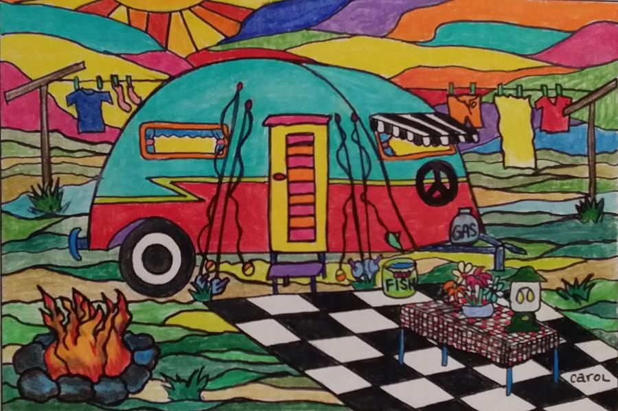 Camper Drawing - Camping..the Life by Carol Hamby