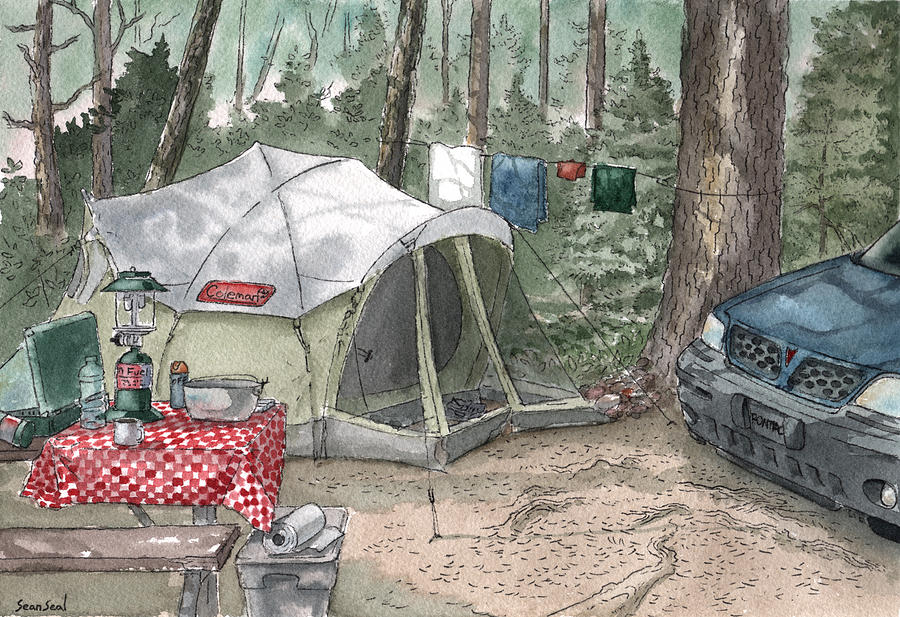 Camping Painting - Campsite by Sean Seal