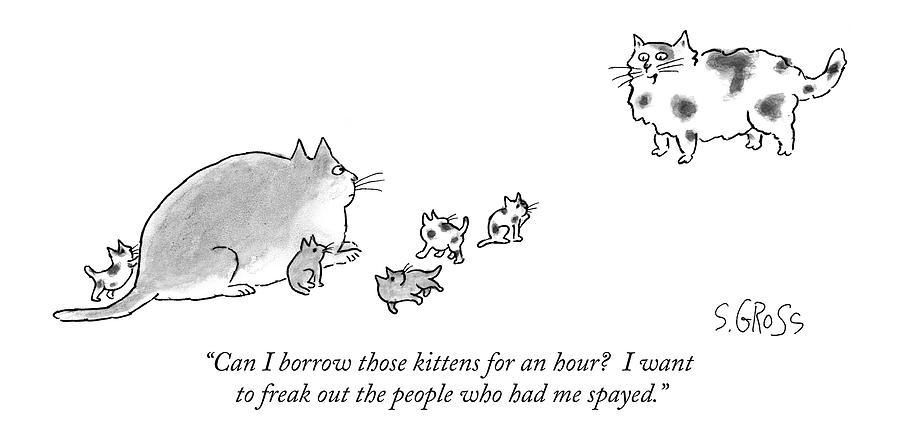 Freak Out Drawing - Can I Borrow Those Kittens For An Hour?  I Want by Sam Gross
