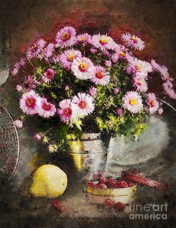 Flowers Painting - Can Of Raspberries by Mo T