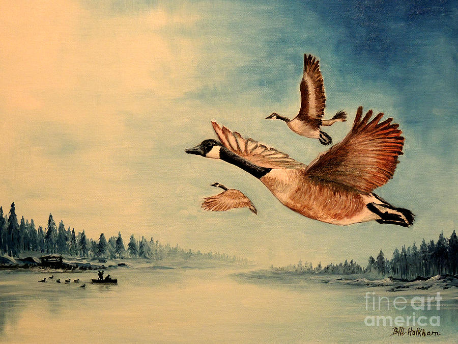 Canada Geese Painting - Canada Geese by Bill Holkham