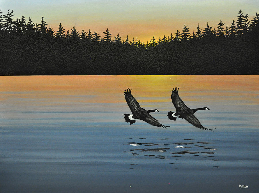 Fowl Painting - Canada Geese by Kenneth M  Kirsch
