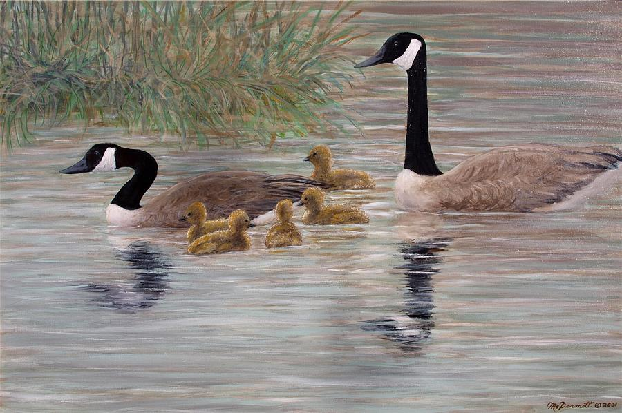 Canada Goose Painting - Canada Goose Family by Kathleen McDermott