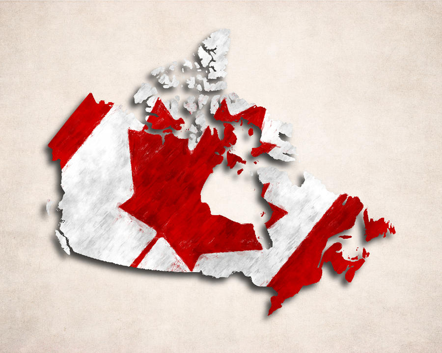 Canada Map Art Canada Map Art with Flag Design Digital Art by World Art Prints And