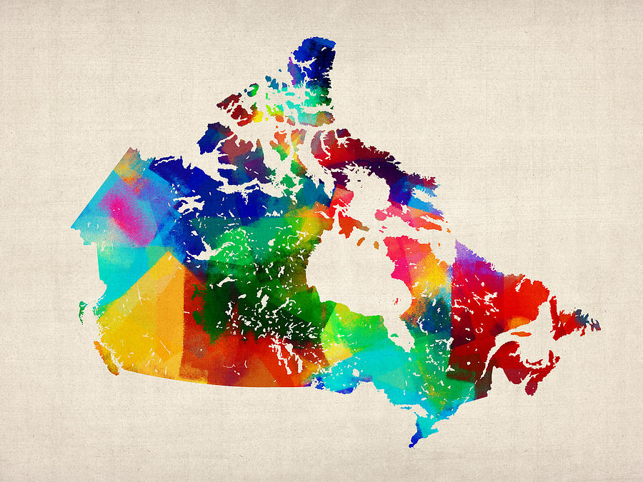Canada Digital Art - Canada Rolled Paint Map by Michael Tompsett