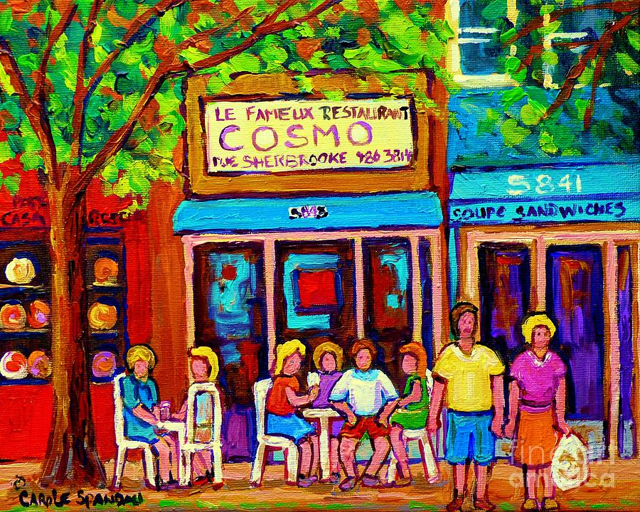 Cosmo's Painting - Canadian Artists Montreal Paintings Cosmos Restaurant Sherbrooke Street West Sidewalk Cafe Scene by Carole Spandau