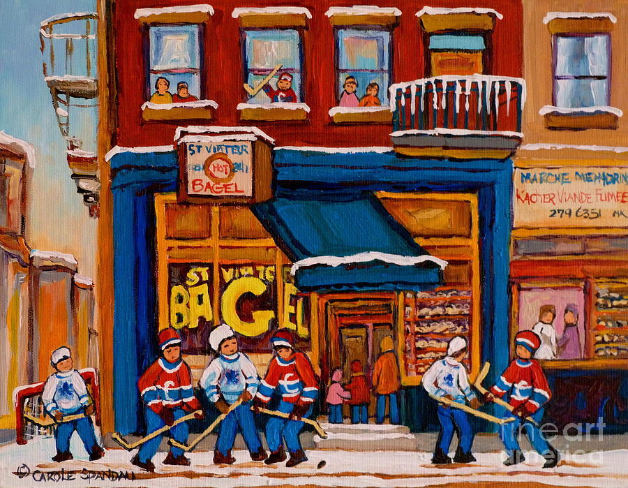 Canadian Art Specialist Painting - Canadian  Artists Paint Hockey And Montreal Streetscenes Over 500 Prints Available  by Carole Spandau