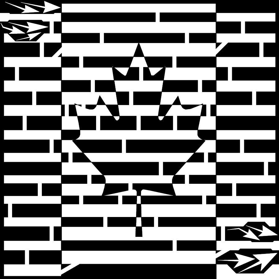 Canada Drawing - Canadian Flag Maze  by Yonatan Frimer Maze Artist