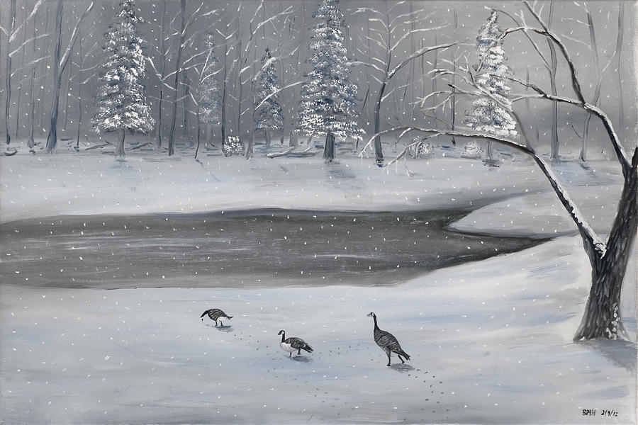 Canadian Geese Painting - Canadian Geese In Winter by Brandon Hebb
