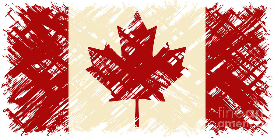 Patriotic Digital Art - Canadian Grunge Flag. Vector by Khvost