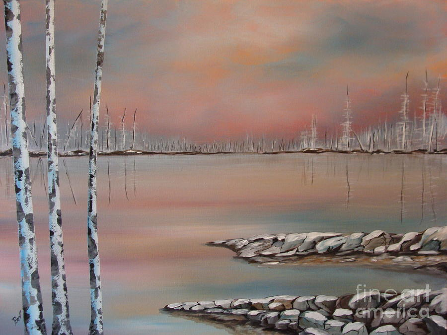 Winter Lake Prints Painting - Canadian Northern Reflections by Beverly Livingstone