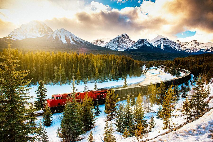 Canadian Pacific Railway Train through Banff National Park Canada Photograph by Ferrantraite