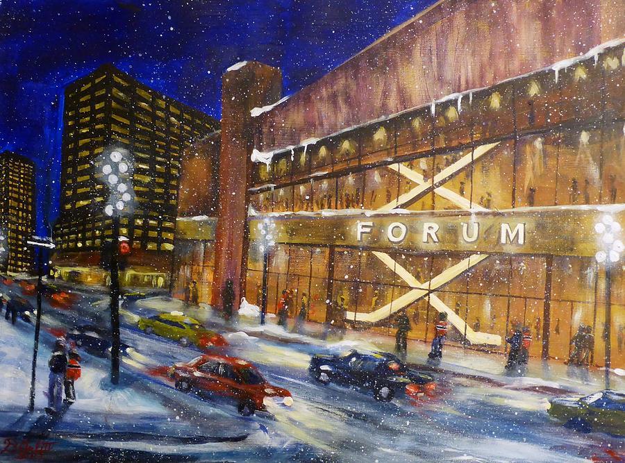 Canadiens Painting - Canadiens Hockey At Montreal Forum by Brent Arlitt