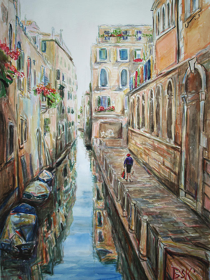 Landscape Painting - Canal 4 Returning Home by Becky Kim